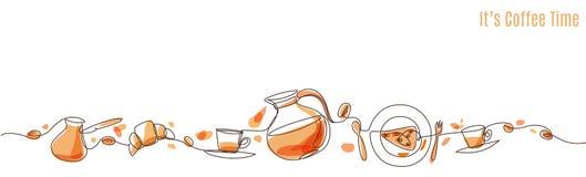 Ilustração do café do vetor tirada com uma linha ilustração royalty free
