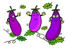 Ilustração do caráter alegre da beringela dos desenhos animados Fotografia de Stock Royalty Free