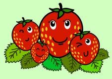 Ilustração do caráter alegre da morango dos desenhos animados Imagens de Stock