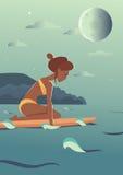 Ilustração do caráter do vetor da menina do surfista da natação ilustração stock