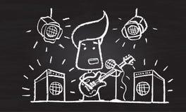 Ilustração do caráter riscado com guitarra ilustração stock