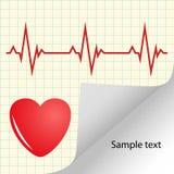 Ilustração do cardiograma, pulso do coração com espaço para o texto Bandeira amarela médica do vetor ilustração stock