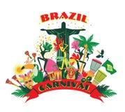 Ilustração do carnaval brasileiro tradicional Foto de Stock Royalty Free