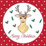 Ilustração do cartão de Natal com cervos Fotografia de Stock