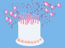 Ilustração do cartão do bolo de aniversário Foto de Stock