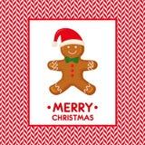 A ilustração do cartão do Feliz Natal com o homem de pão-de-espécie em bastões de doces vector o fundo Fotografia de Stock