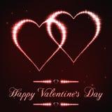 Ilustração do cartão do Valentim no estilo da constelação vermelha da estrela Fotografia de Stock Royalty Free