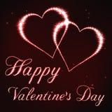 Ilustração do cartão do Valentim no estilo da constelação vermelha da estrela Imagens de Stock