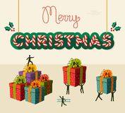 Ilustração do cartão dos trabalhos de equipa do Feliz Natal Fotografia de Stock Royalty Free