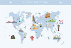 Ilustração do cartão liso do projeto com famoso Foto de Stock Royalty Free