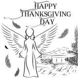 Ilustração do cartão para o dia da ação de graças com o imag Foto de Stock Royalty Free