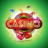 Ilustração do casino com letra brilhante da luz de néon e roda de roleta no fundo verde Projeto de jogo do vetor para Imagem de Stock