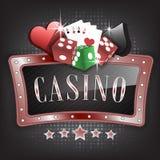 Ilustração do casino com quadro ornamentado, símbolos do cartão, cartões de jogo e dados ilustração do vetor