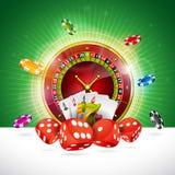 A ilustração do casino com roda e jogo de roleta lasca-se no fundo verde Projeto de jogo do vetor para o convite ou Foto de Stock Royalty Free