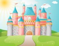 Ilustração do castelo do conto de fadas.