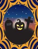 Ilustração do cemitério de Dia das Bruxas da lanterna de Jack o Imagens de Stock