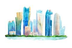 Ilustração do centro da aquarela da skyline da arquitetura da cidade dos desenhos do Aquarelle Fotografia de Stock Royalty Free