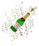 Ilustração do champanhe em uma garrafa dos cogumelos para celebrações do ano novo Confetti colorido ilustração royalty free