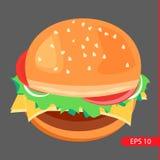 ilustração do Cheeseburger-vetor Ilustração Stock