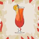 Ilustração do cocktail do furacão Vetor tirado da bebida da barra mão alcoólica Pop art ilustração stock