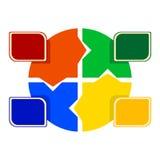 Ilustração do colorido em volta do enigma com etiquetas coloridas no fron Imagens de Stock Royalty Free