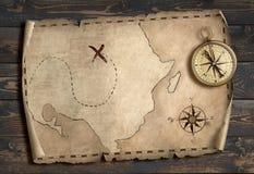 Ilustração do conceito 3d da aventura do mapa do tesouro Imagens de Stock