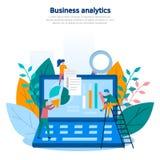 Ilustração do conceito da analítica do negócio, do recolhimento da informação, da análise de dados, dos gráficos e das cartas, jo ilustração do vetor