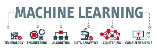 Ilustração do conceito da aprendizagem de máquina da bandeira com ícones ilustração stock