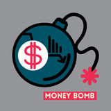 Ilustração do conceito da crise do dólar da bomba do dinheiro ilustração do vetor