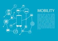 Ilustração do conceito da mobilidade com telefone esperto e dispositivos sem fios conectados Fotografia de Stock Royalty Free