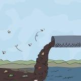 Ilustração do conceito da poluição de água Imagem de Stock Royalty Free