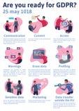 Ilustração do conceito de GDPR Regulamento geral da proteção de dados A proteção de dados pessoais, infographics da lista de veri ilustração stock