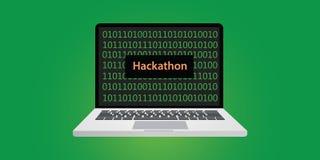 Ilustração do conceito de Hackathon com portátil e texto na tela com código binário Foto de Stock