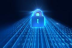 Ilustração do conceito de sistema 3d da segurança do cyber de Digitas Imagem de Stock Royalty Free