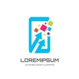 Ilustração do conceito do molde do logotipo do vetor do telefone celular Sinal criativo de Smartphone Tecnologia moderna Símbolo  Imagens de Stock Royalty Free