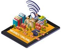 Ilustração do conceito em linha gráfico do dinheiro da informação Fotos de Stock