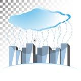 Ilustração do conceito no tema do armazenamento da nuvem com linhas onduladas Foto de Stock Royalty Free