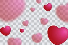 A ilustração do coração borrado balloons o fundo, dia de Valentim poster7 Imagem de Stock