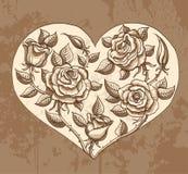 Ilustração do coração das rosas Fotos de Stock Royalty Free