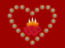 A ilustração do coração do diamante, vela, levantou-se Ilustração do Vetor