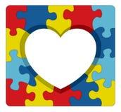 Ilustração do coração do enigma da conscientização do autismo Foto de Stock Royalty Free