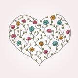 Ilustração do coração floral Imagem de Stock