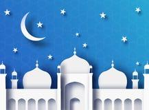 Ilustração do corte do papel do sumário de Ramadan Kareem 3d Mesquita islâmica e céu azul ilustração stock