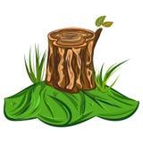 Ilustração do coto de árvore de um coto de árvore grande dos desenhos animados com banco e de algumas lâminas de grama ilustração royalty free
