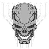 Ilustração do crânio do robô ilustração stock