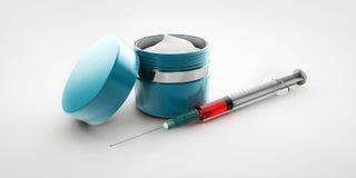 Ilustração do creme do ácido hialurónico com a seringa isolada Imagem de Stock