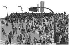 Ilustração do cruzamento aglomerado da rua da cidade da opinião de ângulo alto na cor ilustração stock