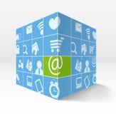 Ilustração do cubo 3d com ícones Fotografia de Stock Royalty Free