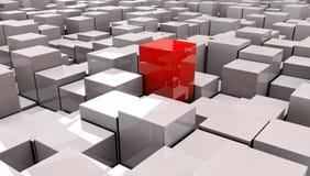 Ilustração do cubo vermelho no backround Foto de Stock