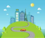 Ilustração do curso com paisagem urbana Foto de Stock Royalty Free